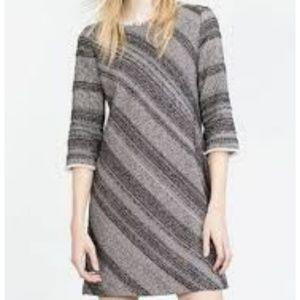 Zara Basic Tweed Fringed Dress Size Medium
